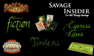 Logos for items associated with our For the Mind lines. Retribution, Savage Insider (For All Things Savage), Obatron Fiction, Express Lines, Savage Worlds, Tunse'al, and Systemless.